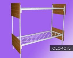Двухъярусные железные кровати, для казарм, металлические кровати с ДСП спинками, кровати для бытовок..