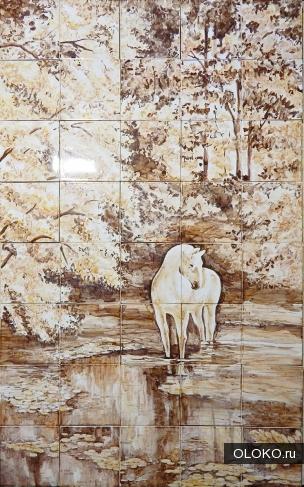 Панно Пейзаж с лошадью.
