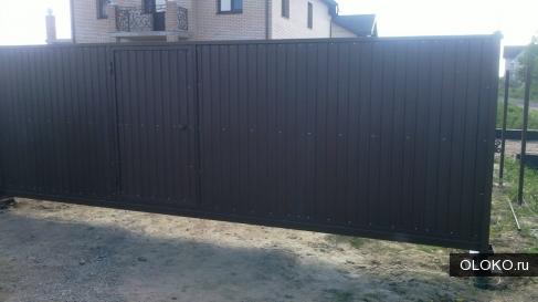 Откатные ворота 4,0 на 2,0 м со встроенной калиткой.