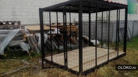 Вольеры для животных из прутьев или сетки.