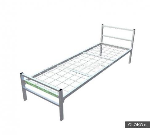 Кровать односпальная металлическая.